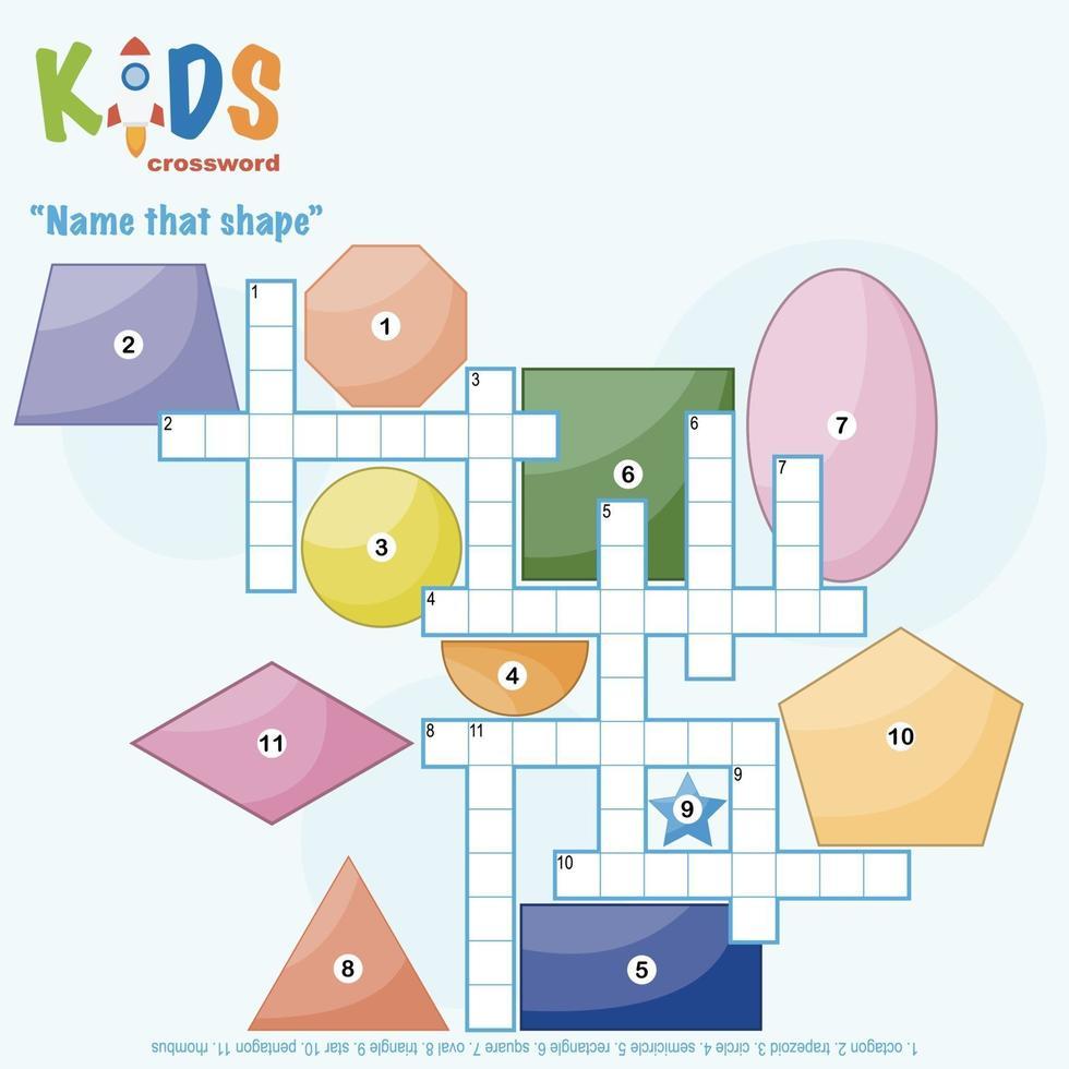 noem die vorm kruiswoordpuzzel vector