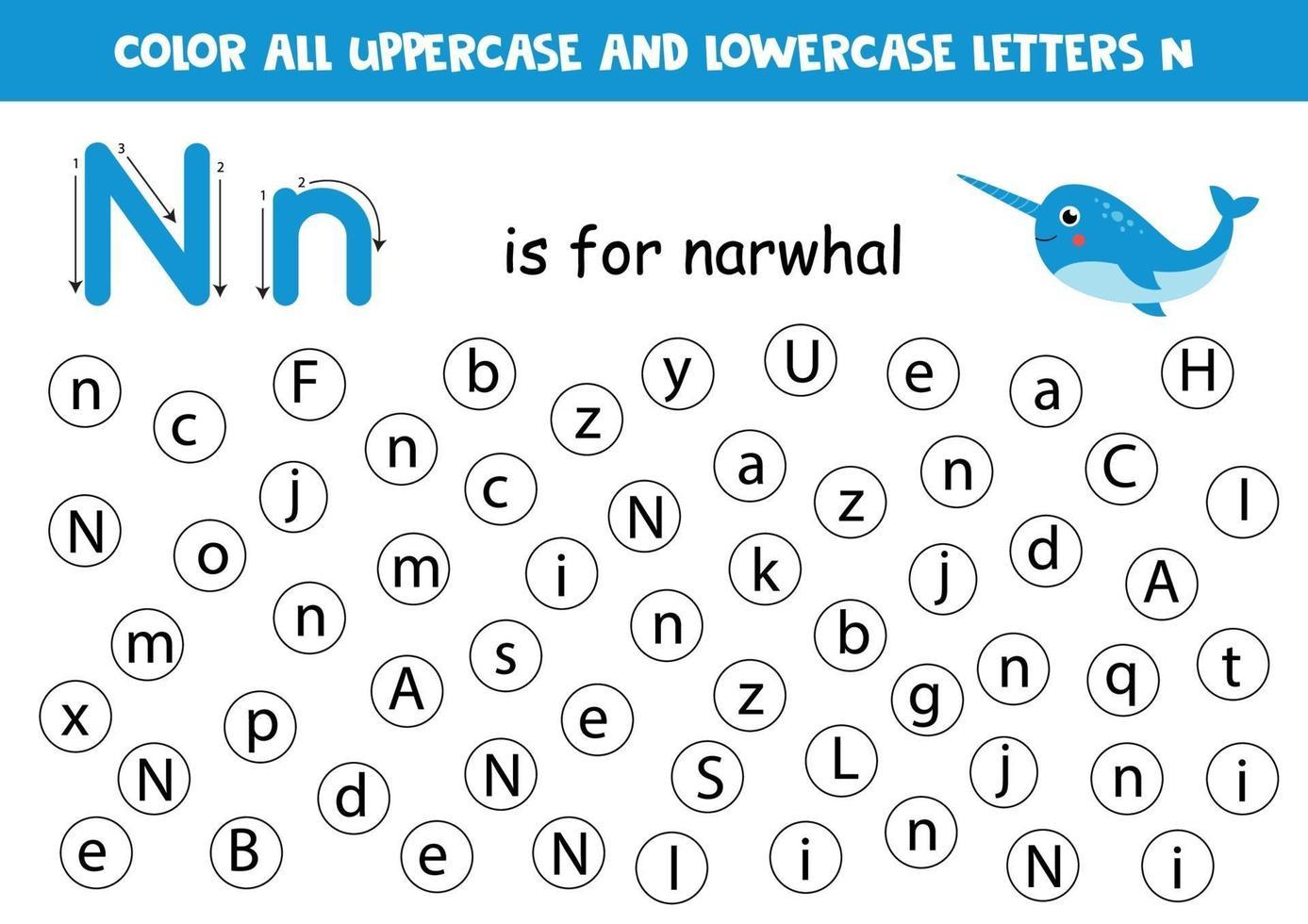 zoek en kleur alle letters n. alfabet spelletjes voor kinderen. vector