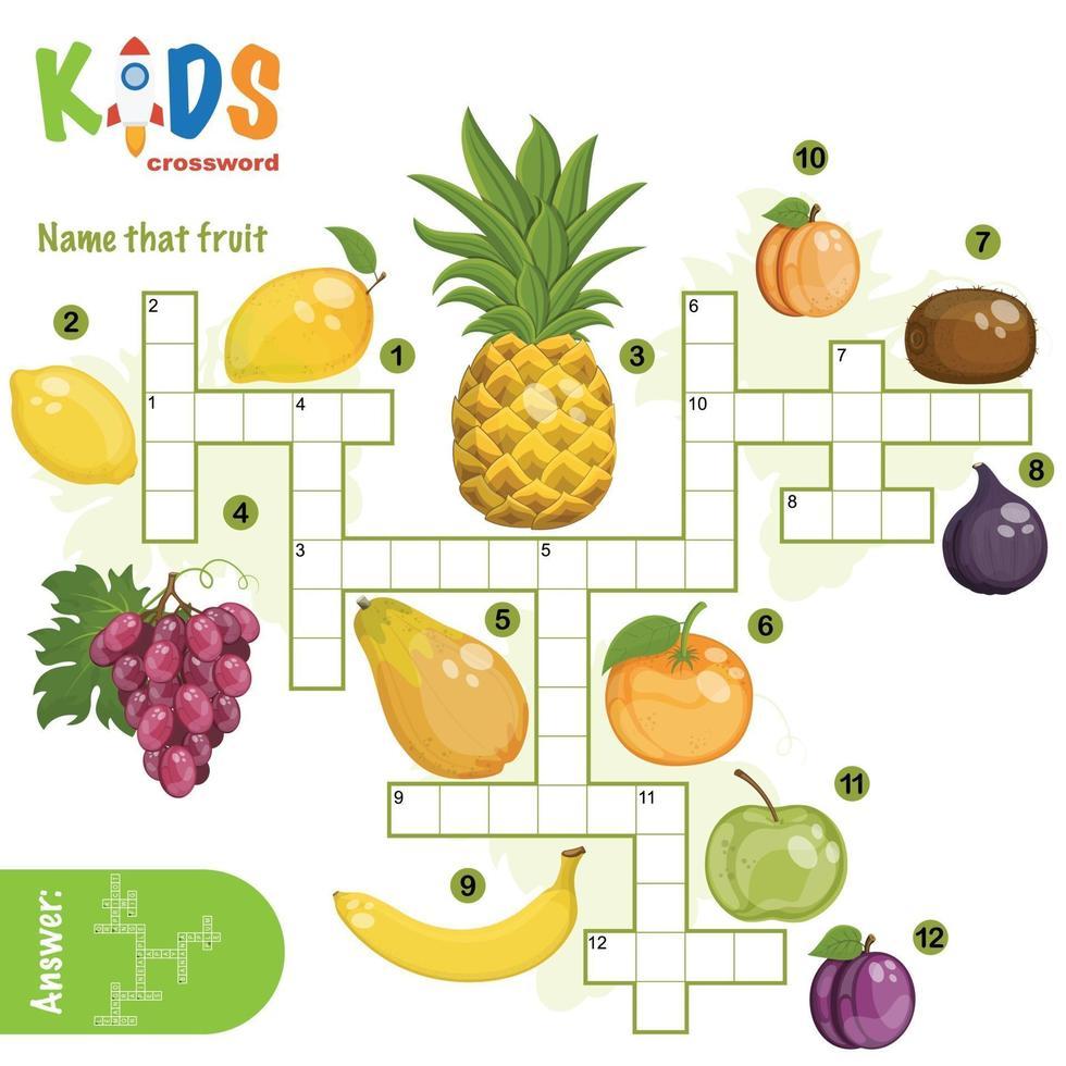 noem die fruitkruiswoordpuzzel vector