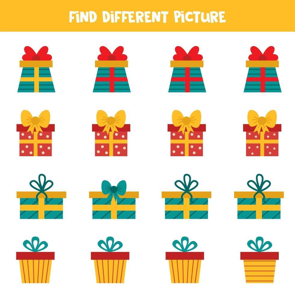 vind een ander beeld van de huidige kerstdoos in een rij. vector