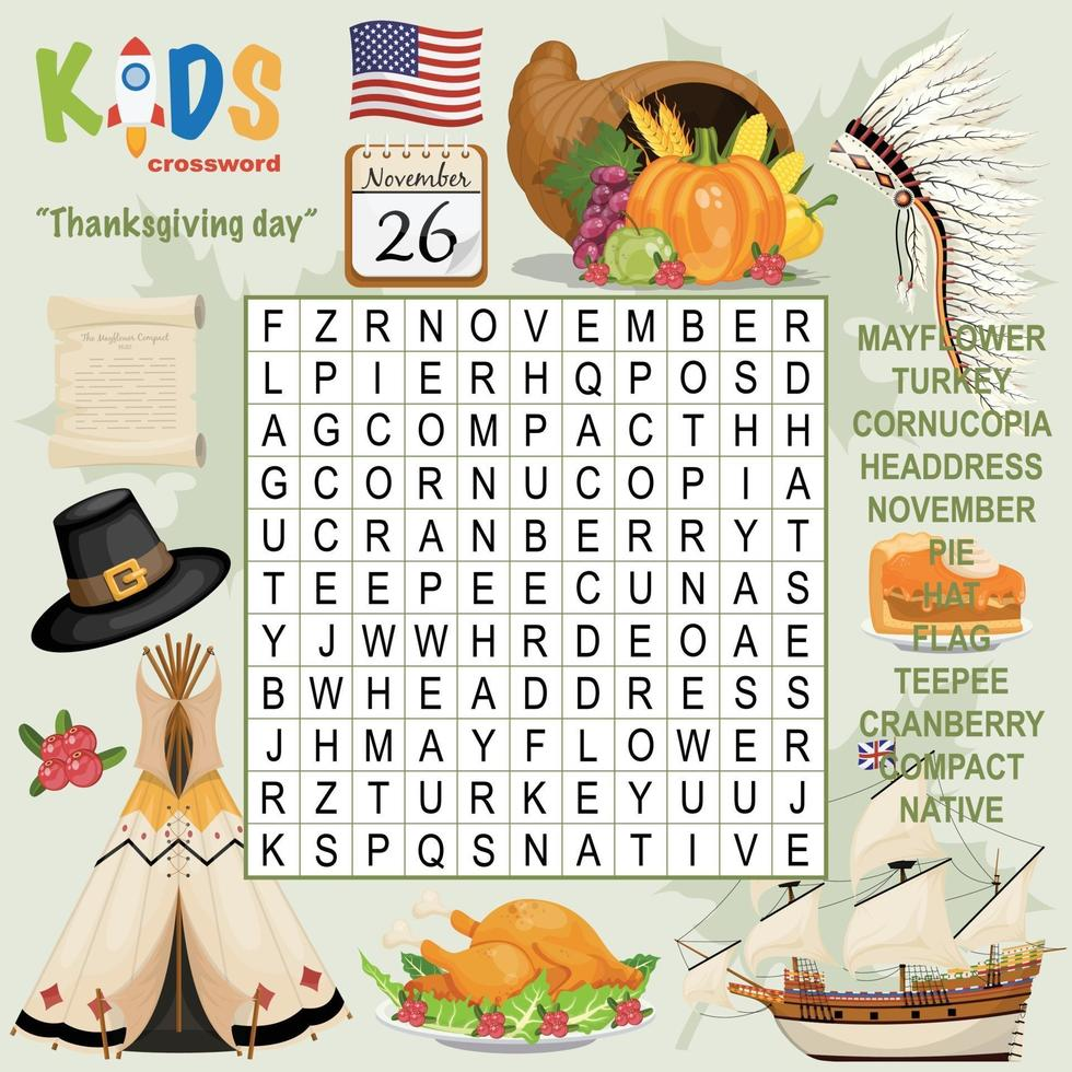 thanksgiving day woord zoeken kruiswoordraadsel vector