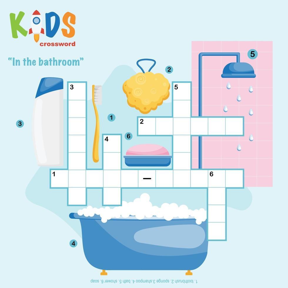 in de badkamer kruiswoordpuzzel vector