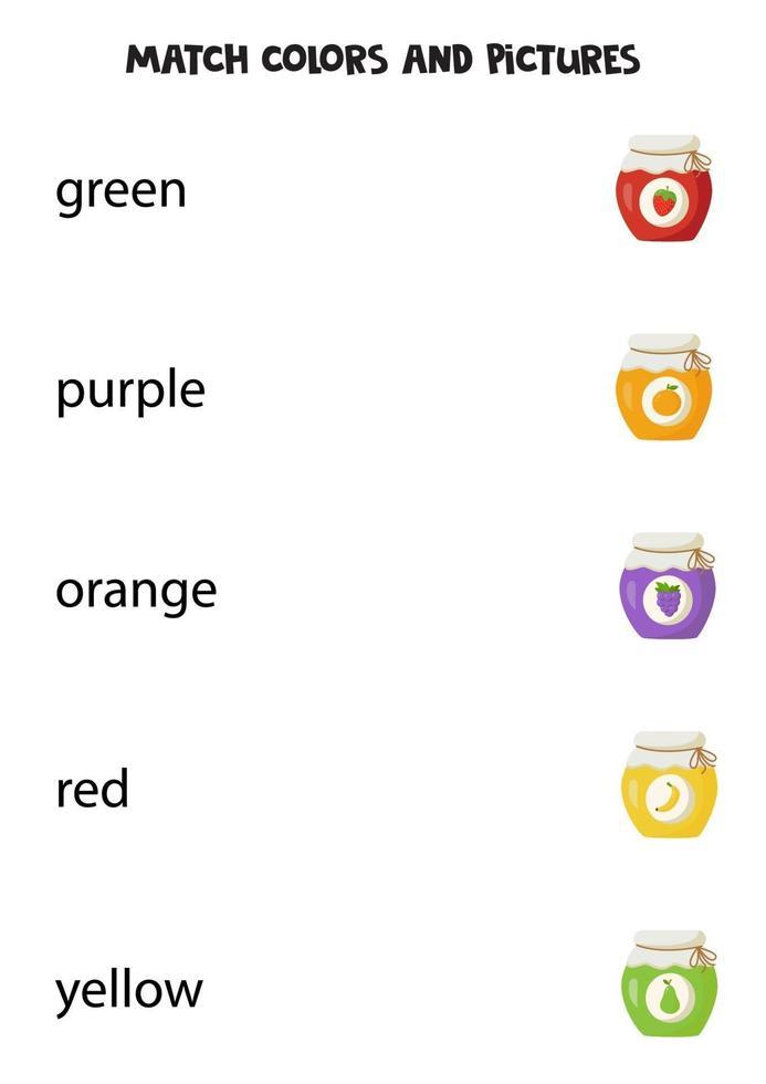 kleuraanpassingsspel voor kinderen. educatief logisch spel voor kinderen. vector