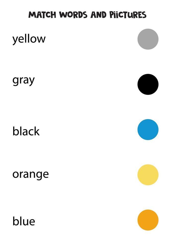 match woorden en kleur cirkels. educatief logisch werkblad. vector