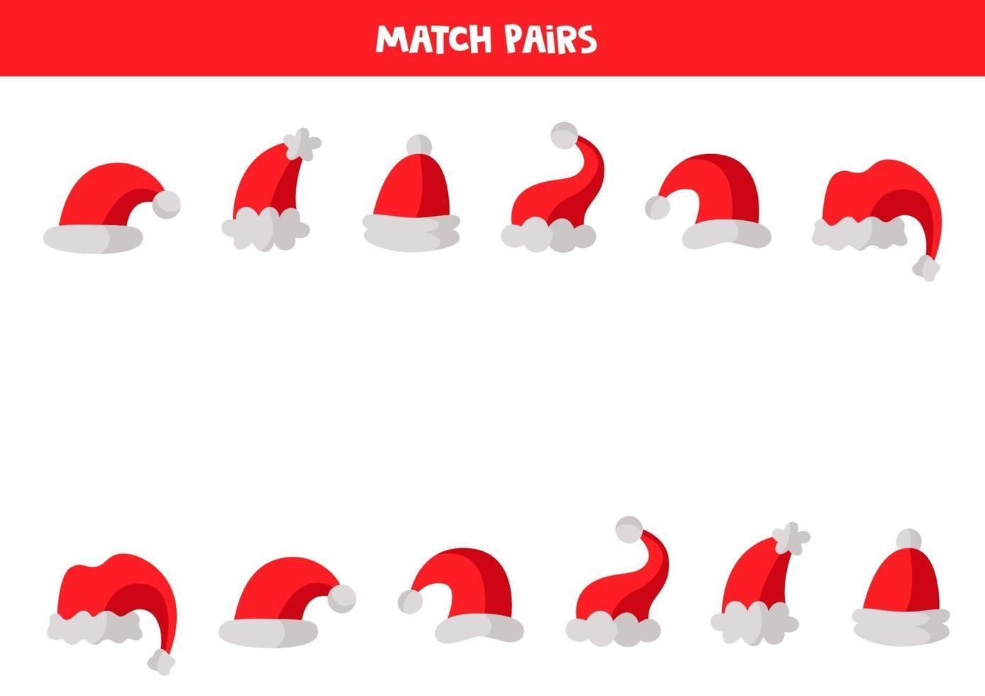educatief logisch spel voor kinderen. match paren caps, vector