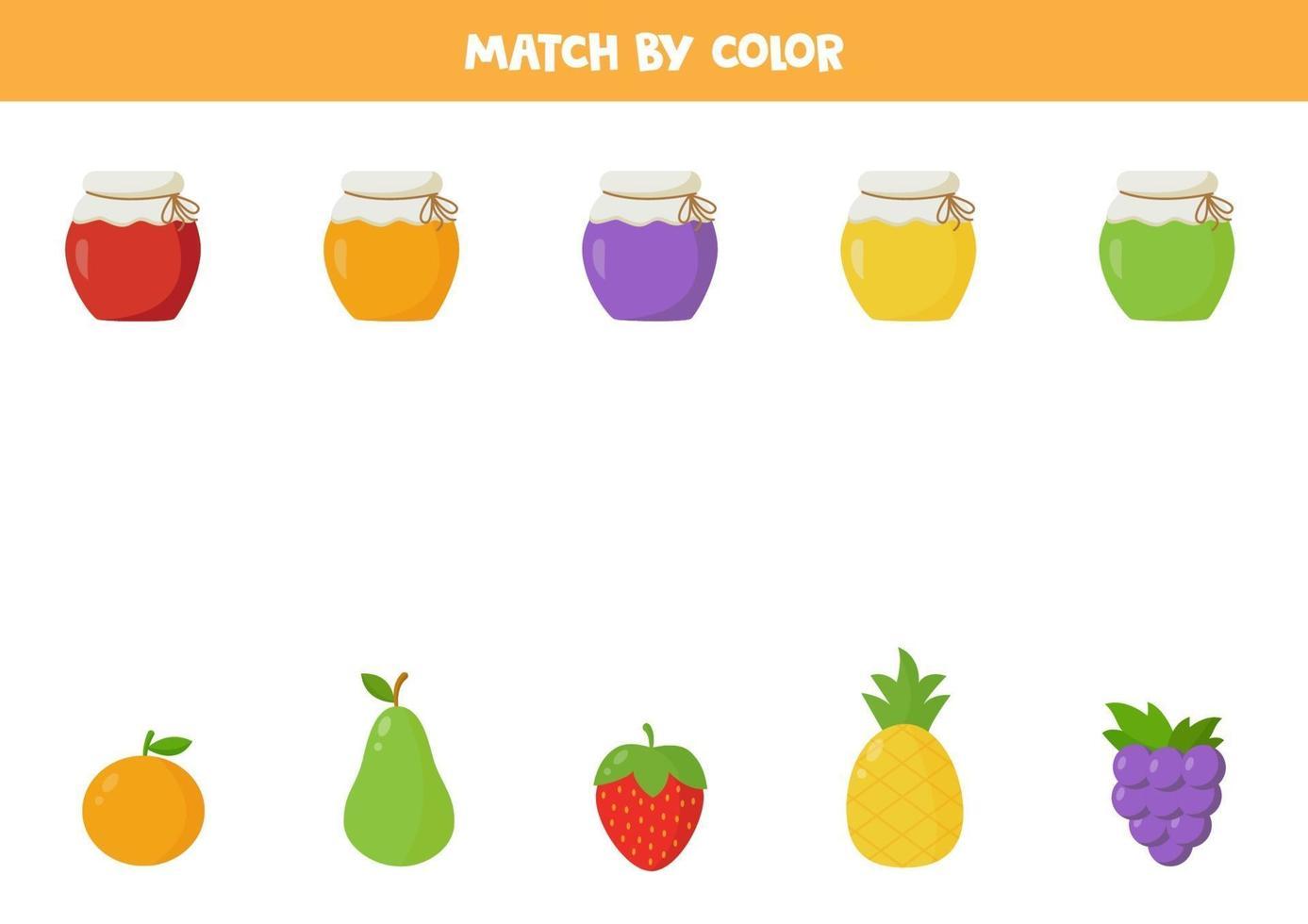 match op kleur. jampotten en fruit. vector