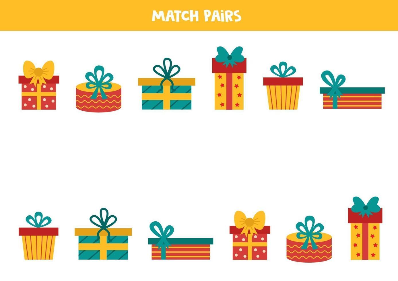 matching game voor kinderen. vind een paar voor elke geschenkdoos. vector