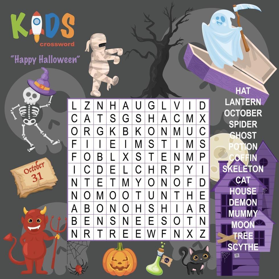happy halloween woord zoeken kruiswoordraadsel vector