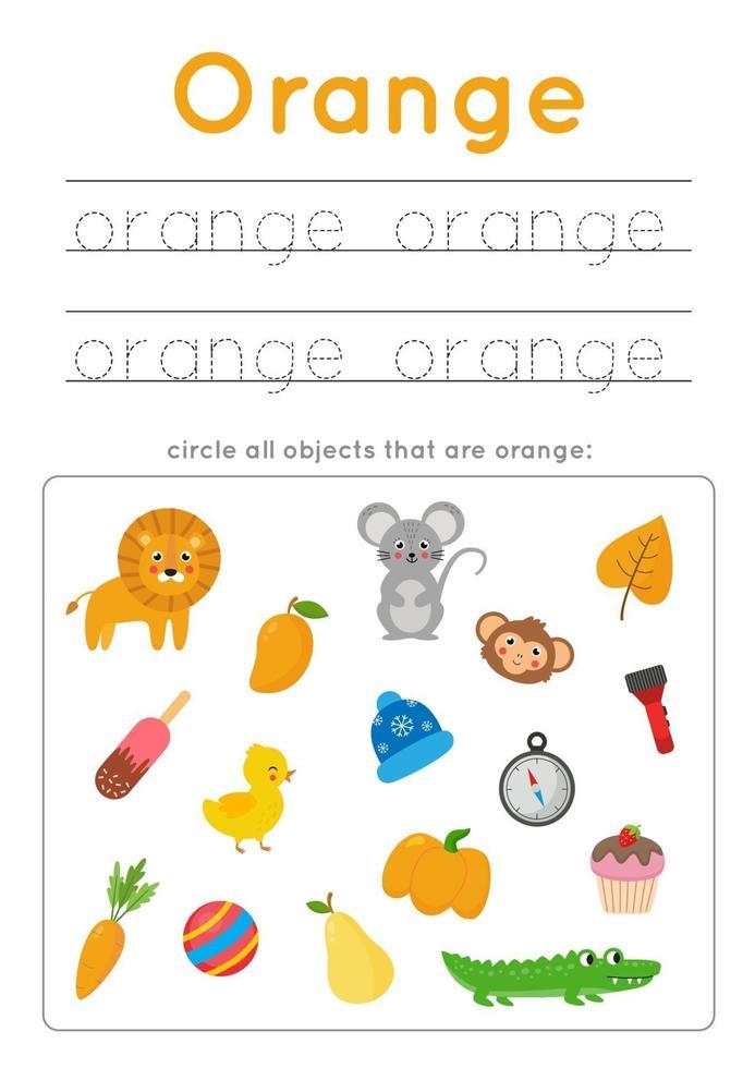 oranje kleur leren voor kleuters. Schrijf oefening. vector
