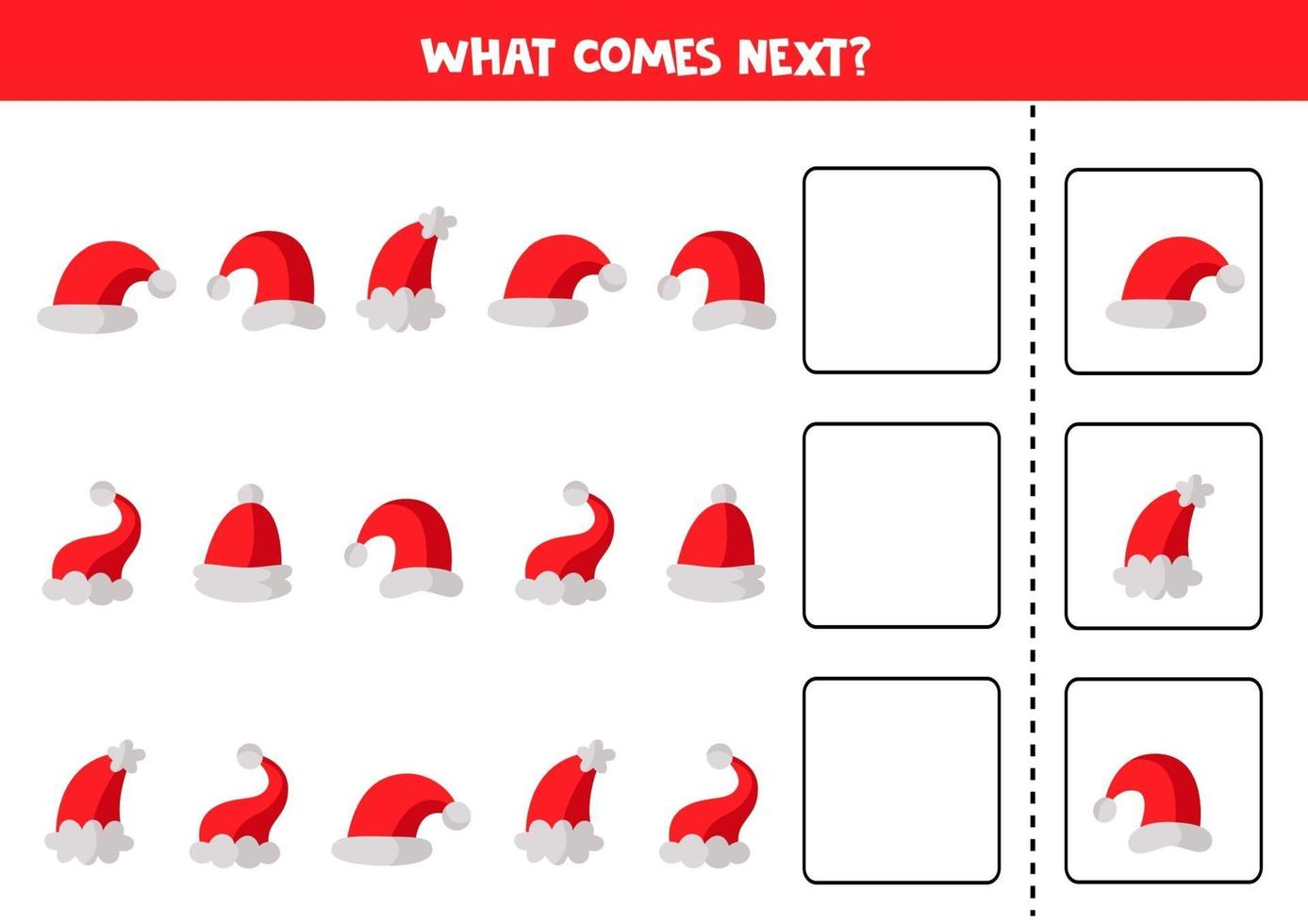 wat daarna komt met kerstmutsen. educatief werkblad. vector