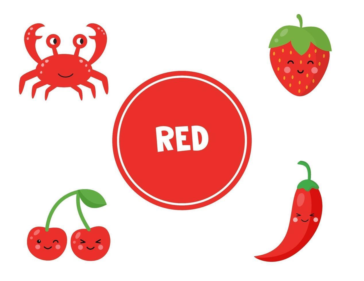 rode kleur leren voor kleuters. educatief werkblad. vector