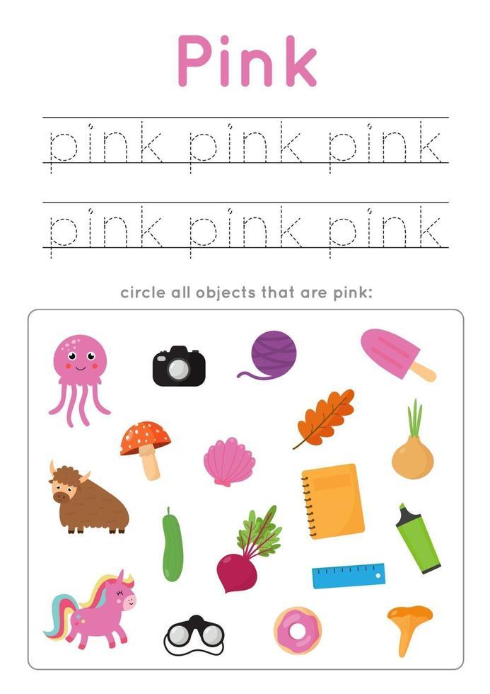 roze kleur leren voor kleuters. Schrijf oefening. vector
