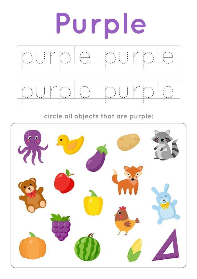 paarse kleur leren voor kleuters. Schrijf oefening. vector