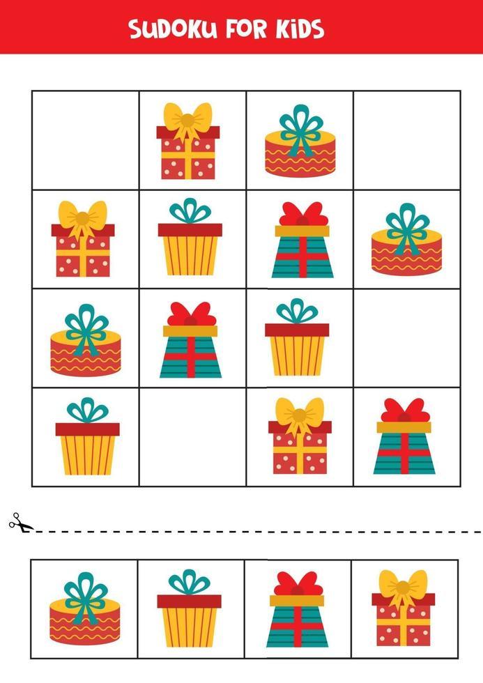 Sudoku-puzzelspel voor kinderen. set kerstcadeautjes. vector