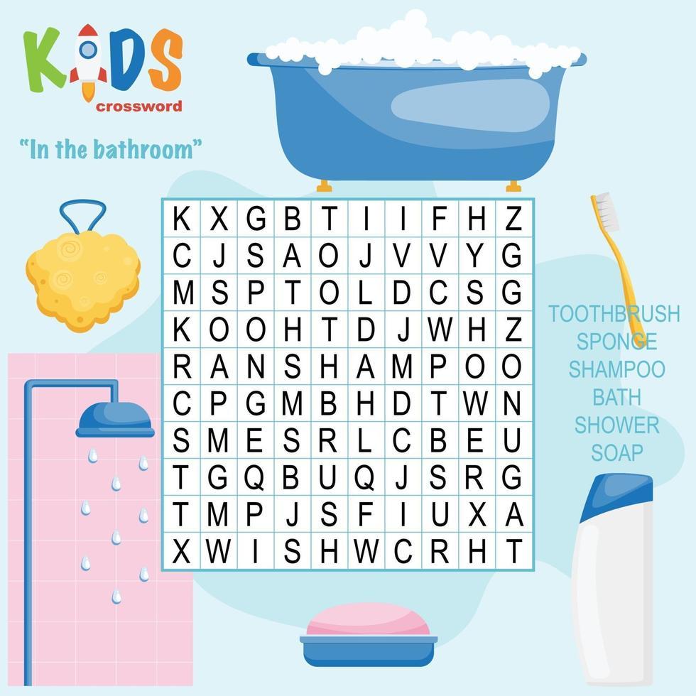 in de badkamer woordzoeker kruiswoordraadsel vector