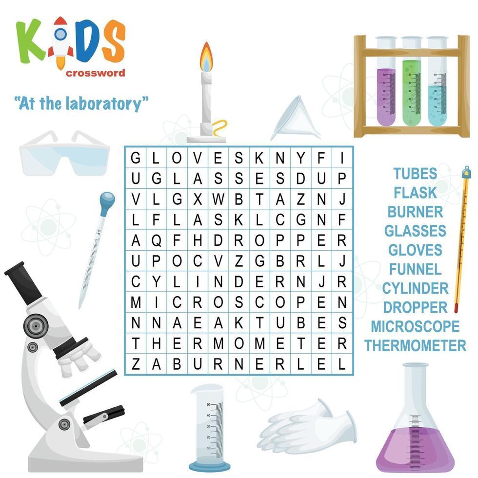 bij het laboratorium woord zoeken kruiswoordraadsel vector