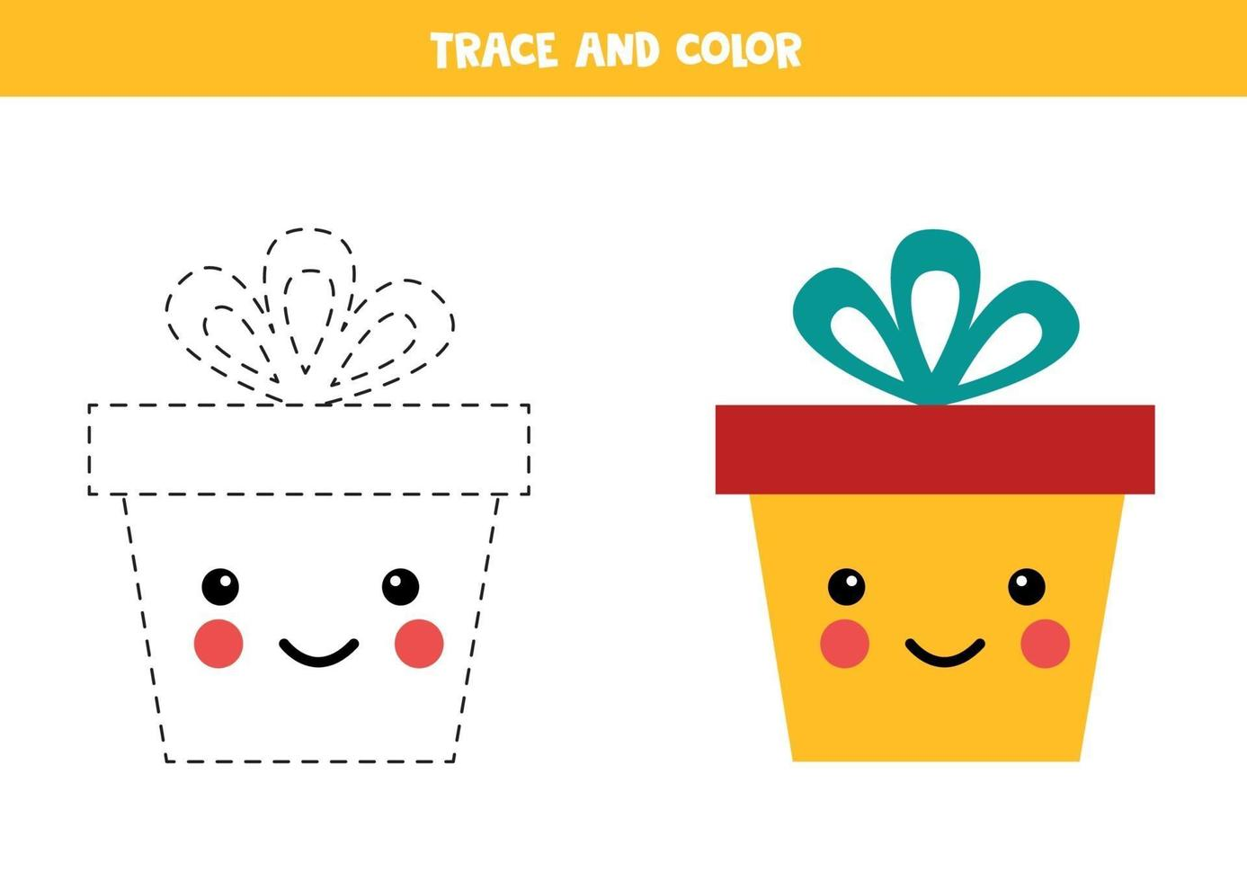 handschriftoefening voor kinderen. trace en kleur kawaii geschenkdoos. vector