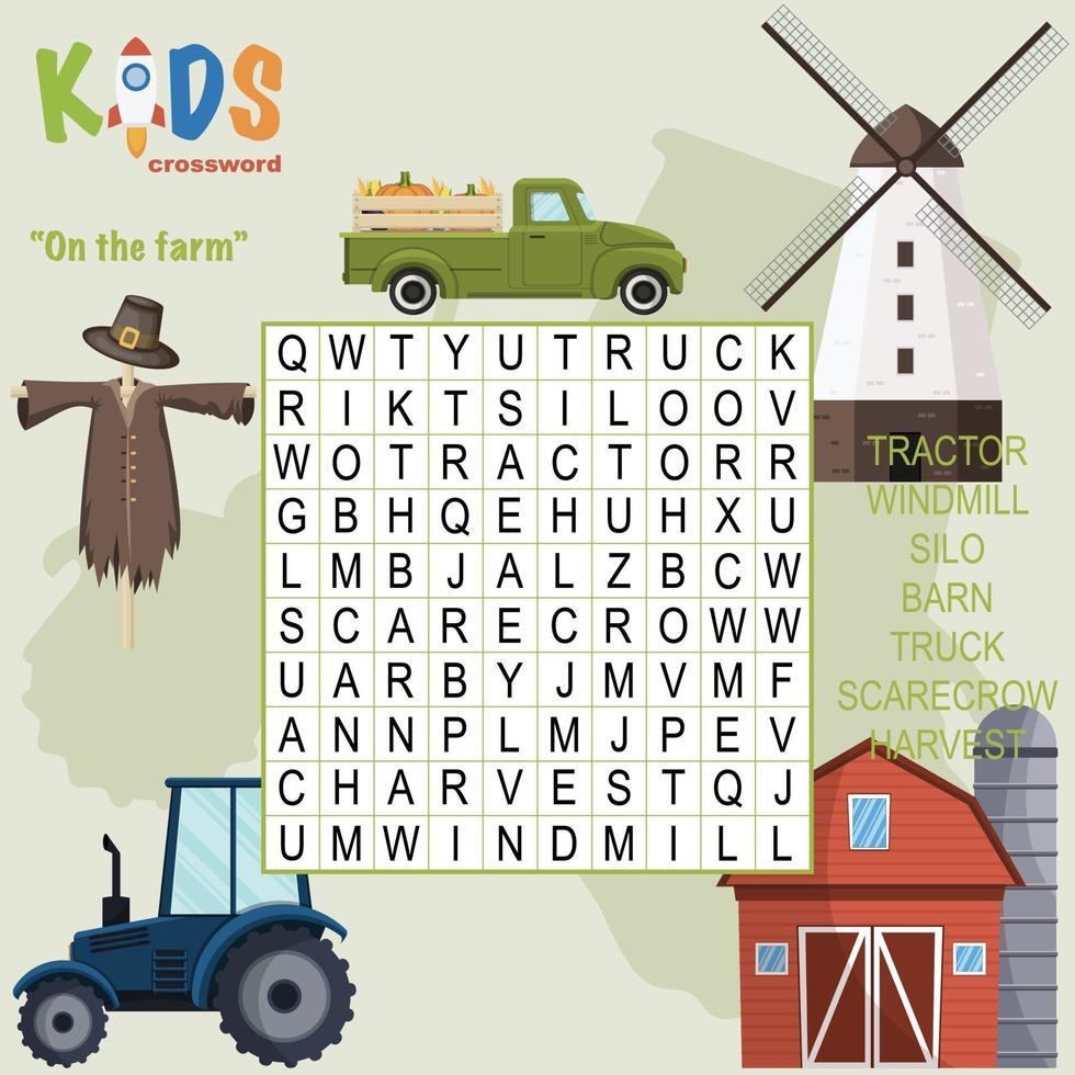 op de boerderij woordzoeker kruiswoordraadsel vector