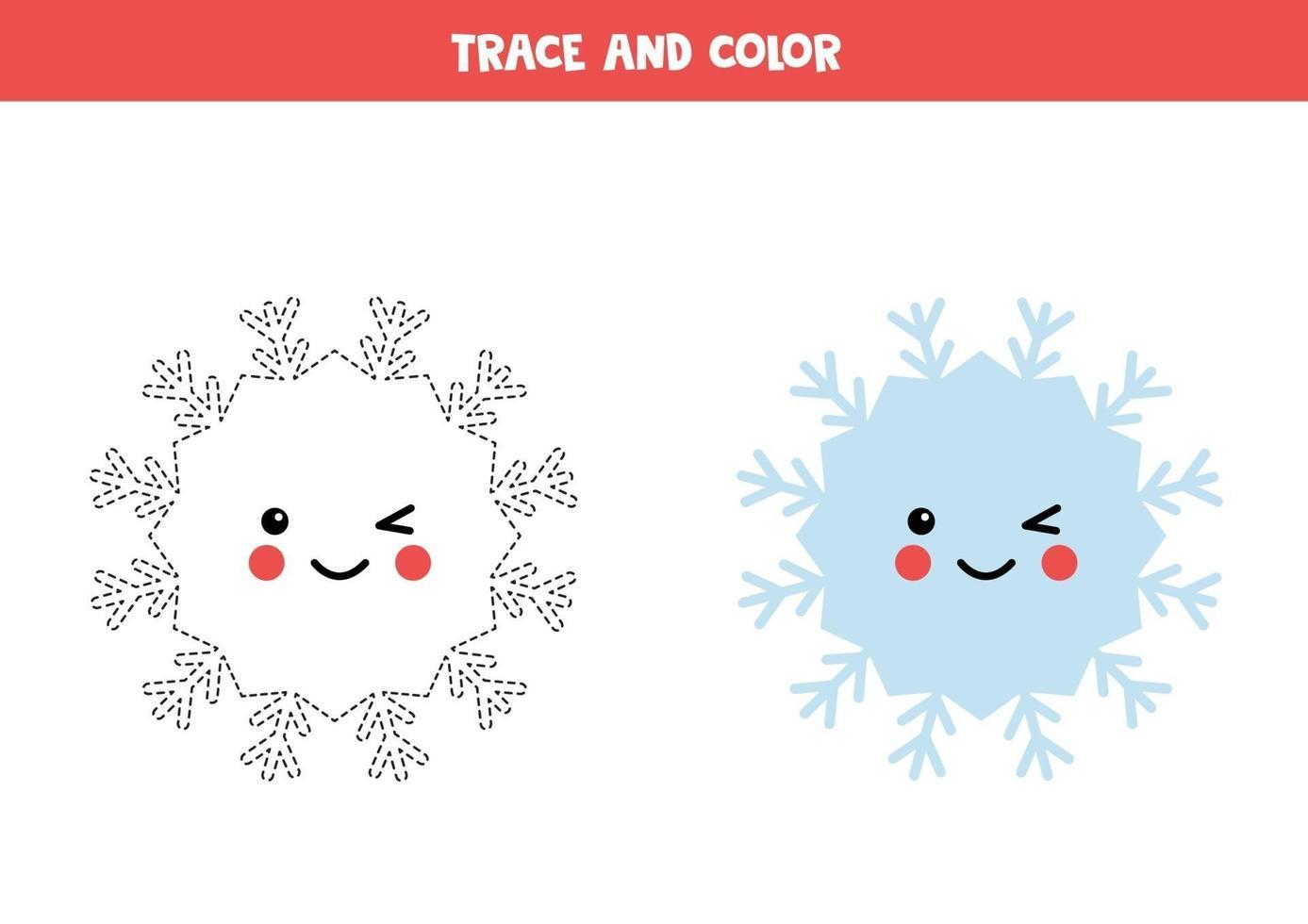 trace en kleur kawaii sneeuwvlok. schrijfvaardigheid oefenen. vector