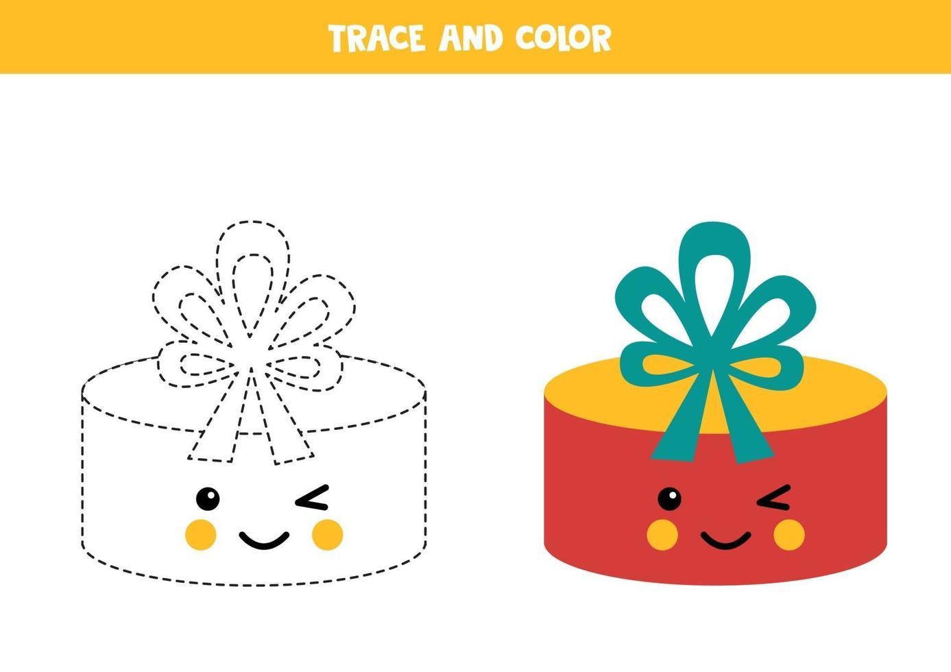 tracing werkblad voor kinderen. kleur schattig geschenkdoosje. vector