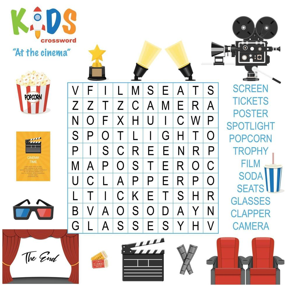 bij het kruiswoordraadsel van het woord zoeken in de bioscoop vector