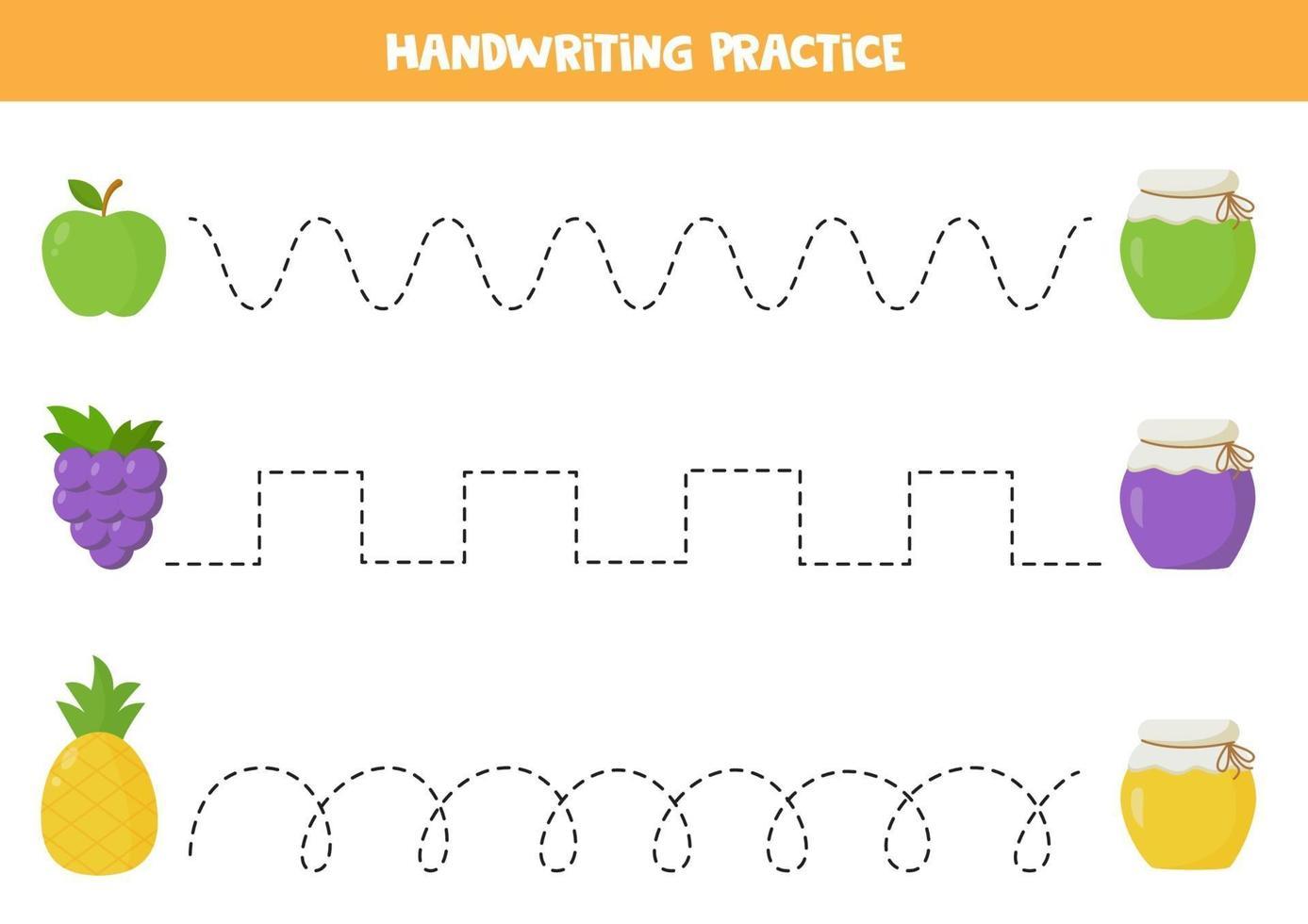 trek de lijnen tussen fruit en jampotjes. vector