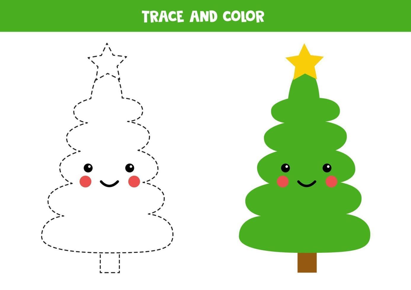 tracing werkblad voor kinderen. kleur schattige dennenboom. vector