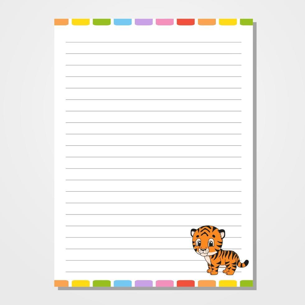briefpapier voor kinderen met tijger vector