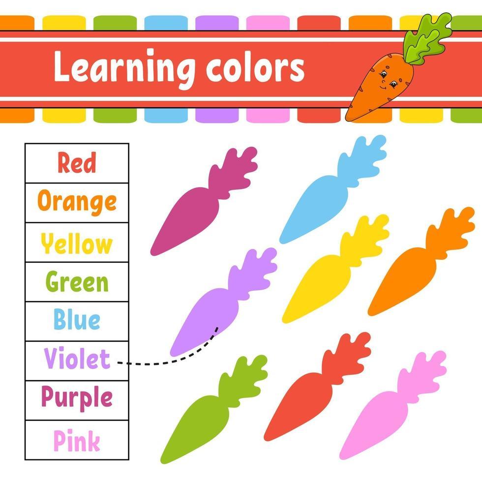 kleuren leren. logische puzzel voor kinderen. onderwijs ontwikkelend werkblad. leerspel. activiteitenpagina. eenvoudige vlakke geïsoleerde vectorillustratie in leuke cartoonstijl. vector