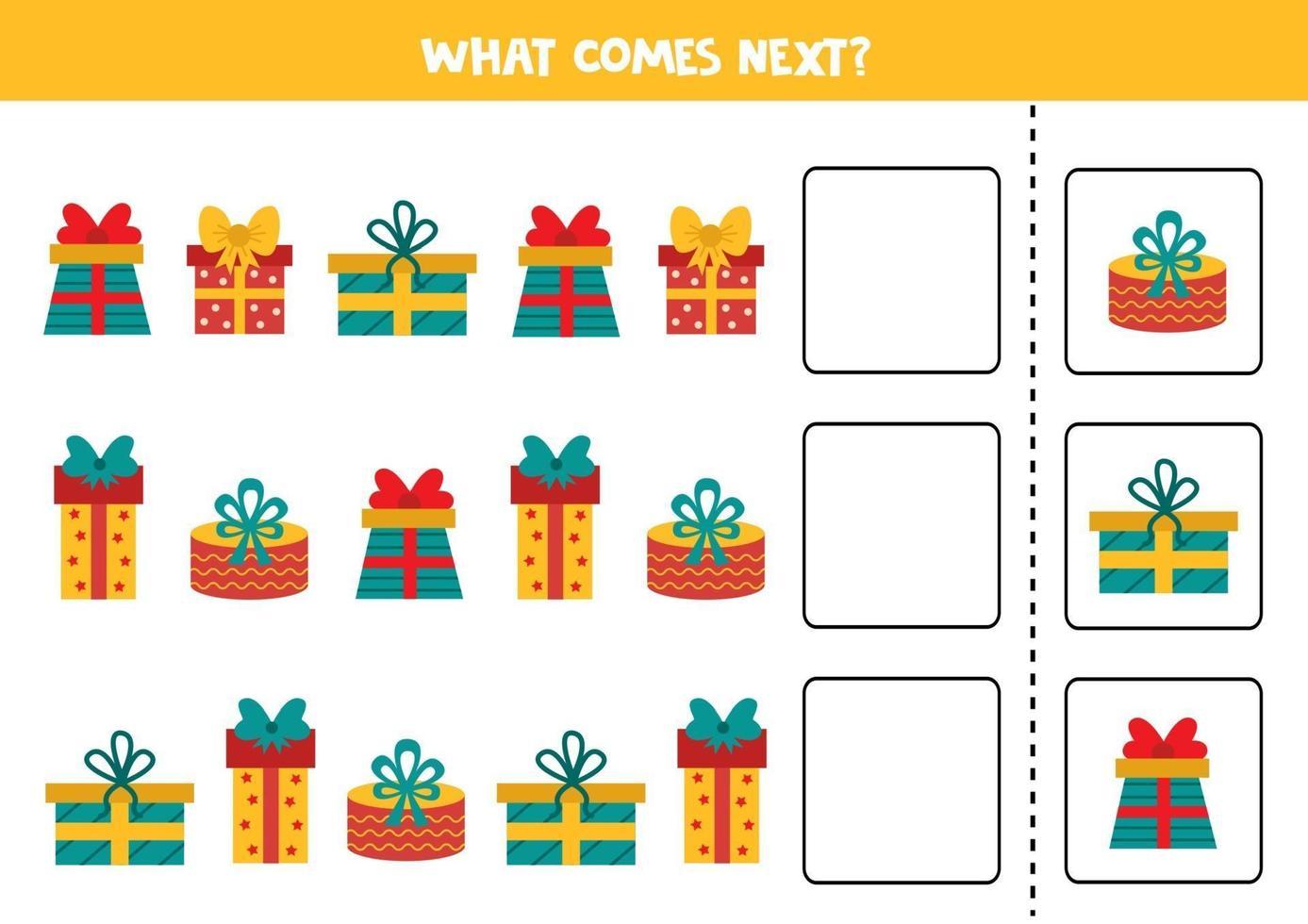 wat komt er daarna met cartoon geschenkdozen. logisch spel voor kinderen. vector