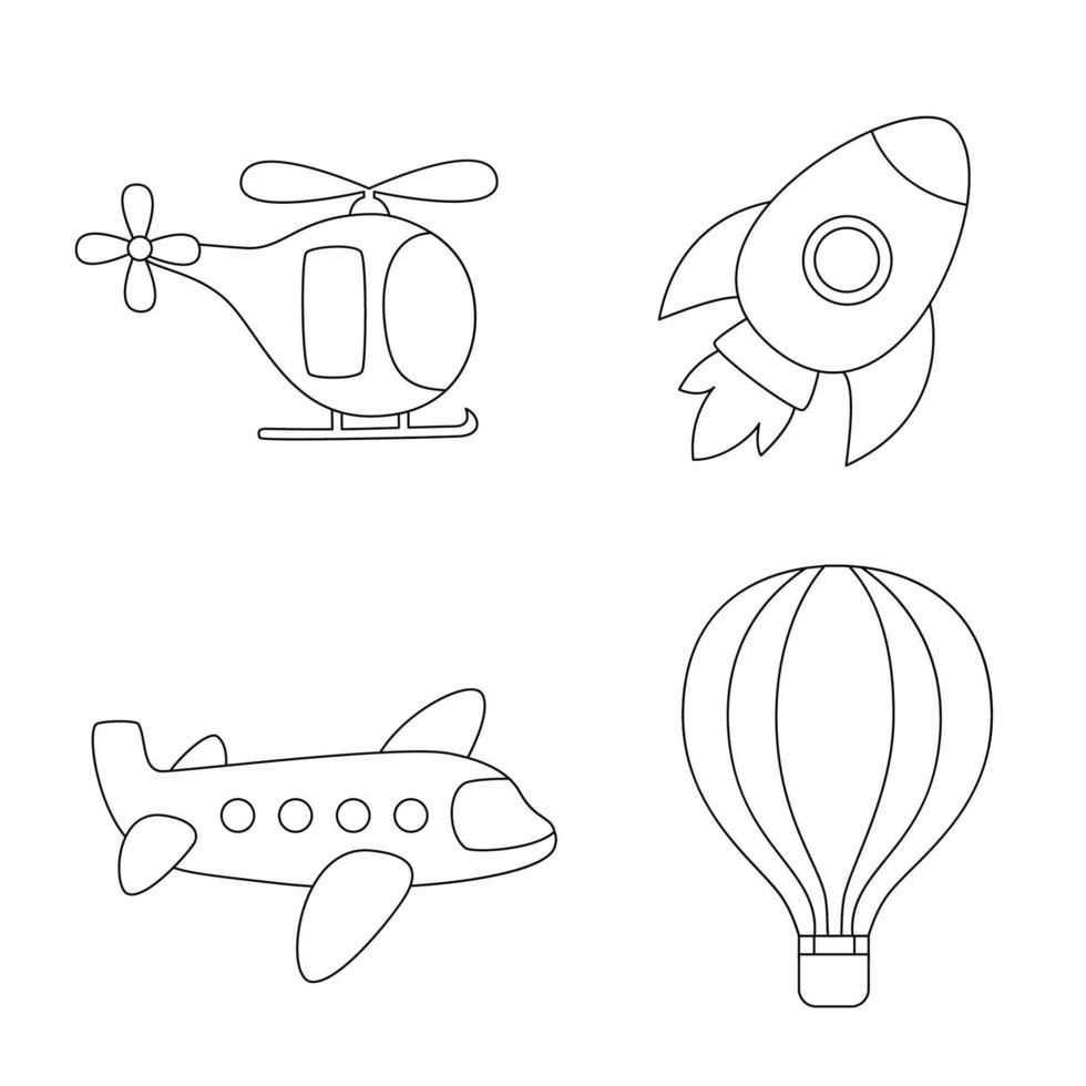 kleur luchtvervoer. kleurplaat voor kinderen. vector