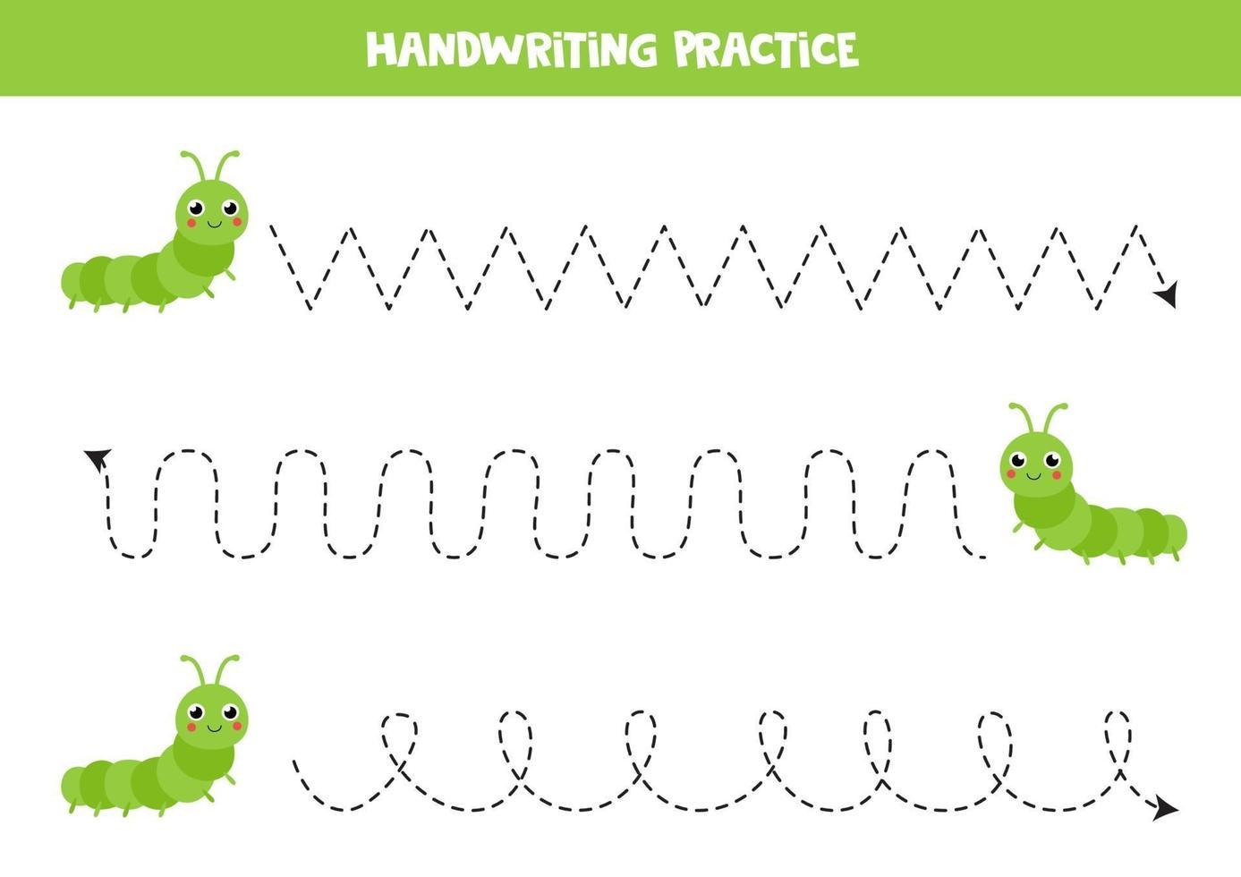 traceer de lijnen met schattige rupsen. Schrijf oefening. vector