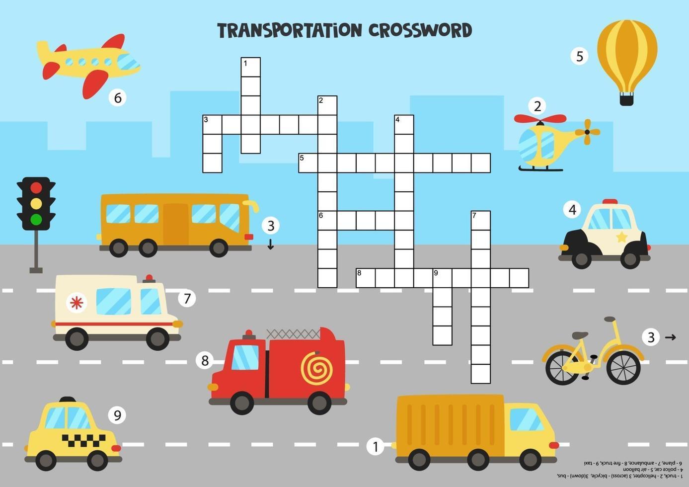 kruiswoordraadsel voor kinderen met cartoon transportmiddelen. vector