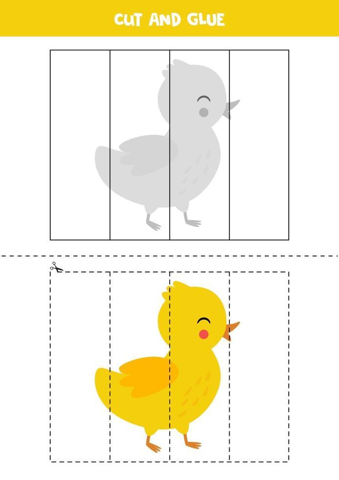 knip en lijm spel voor kinderen. cute cartoon eendje. vector
