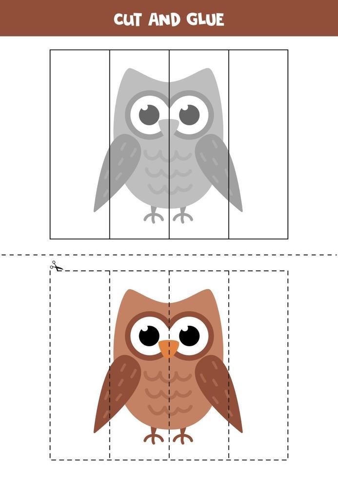 knip en lijm spel voor kinderen. cartoon uil. vector