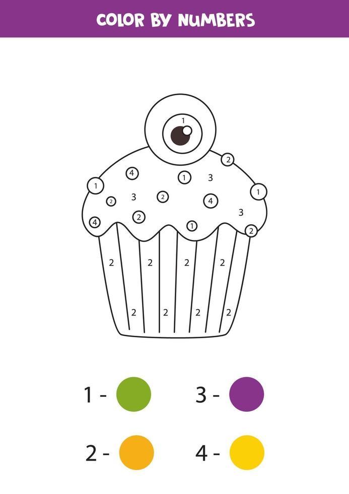 kleur halloween cupcake op nummer. kleurplaat voor kinderen. vector