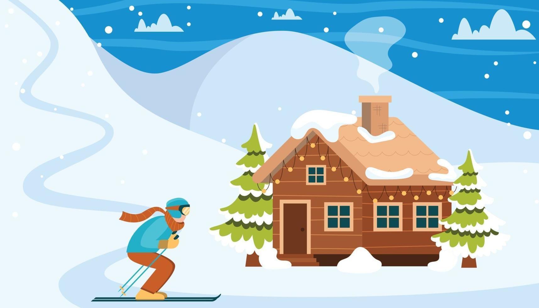 skigebied landschap vector