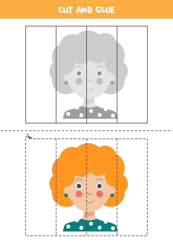 knip en plak spel met schattig meisjesgezicht. vector