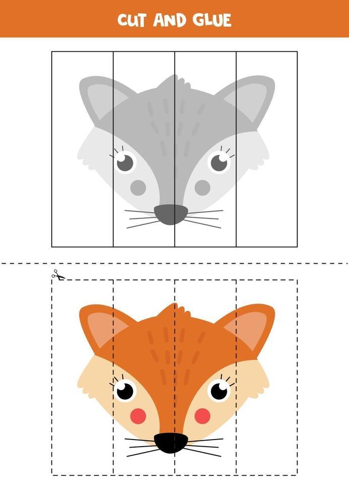 knip schattige kartonnen vossen uit en lijm deze vast. vector