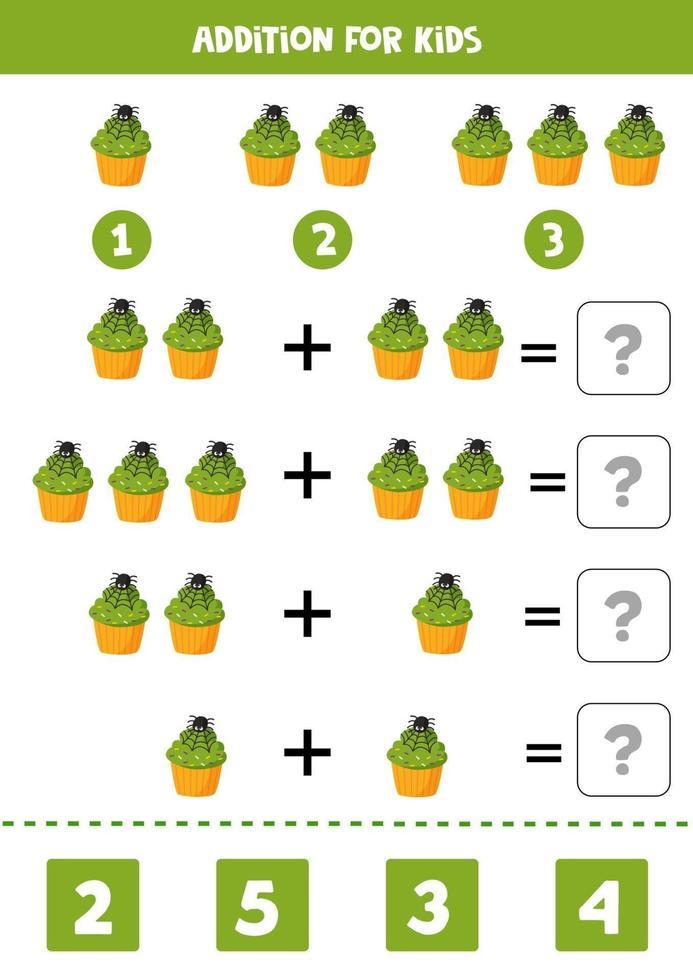 toevoeging spel voor kinderen. leuke halloween-muffin. vector