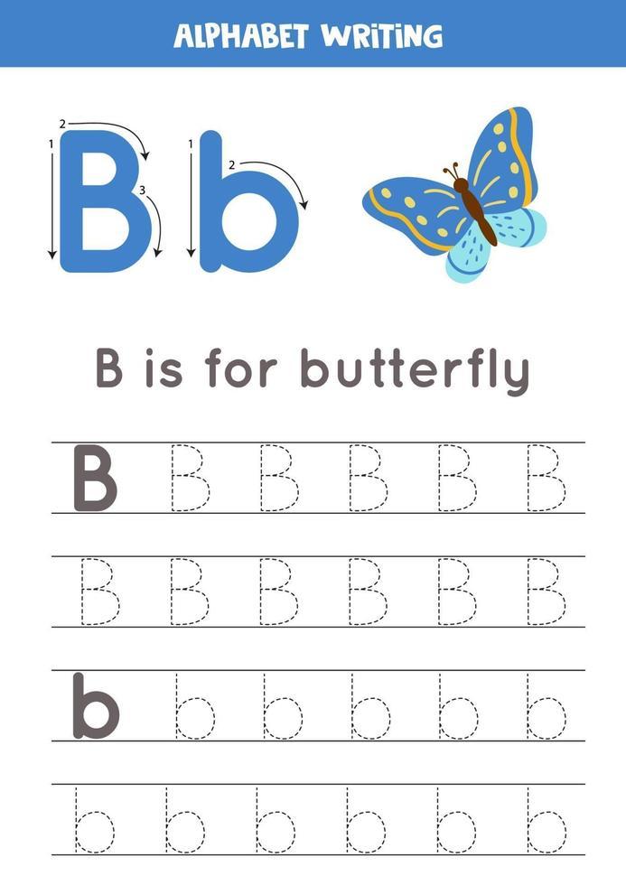 handschriftoefening met alfabetletter. traceren b. vector