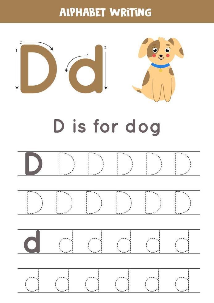 d is voor hond. tracing Engels alfabet werkblad. vector
