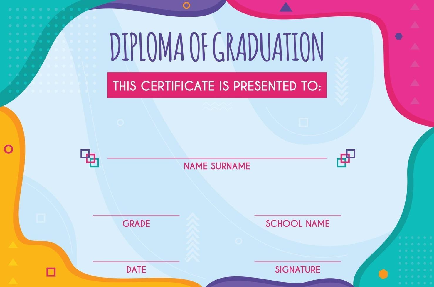 diploma van afstudeersjabloon vector