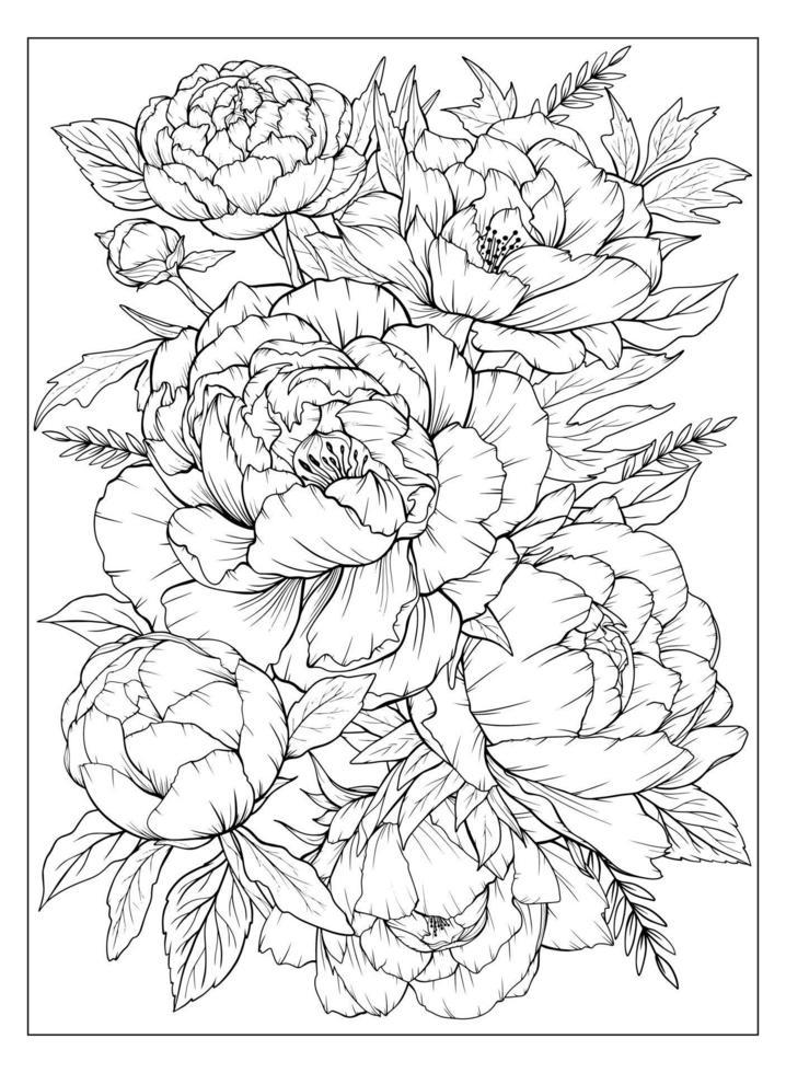 kleurplaat met pioenrozen en bladeren. vector pagina om in te kleuren. bloem kleurplaat. bloemenprint. overzicht pioenen. zwart-wit pagina voor kleurboek.