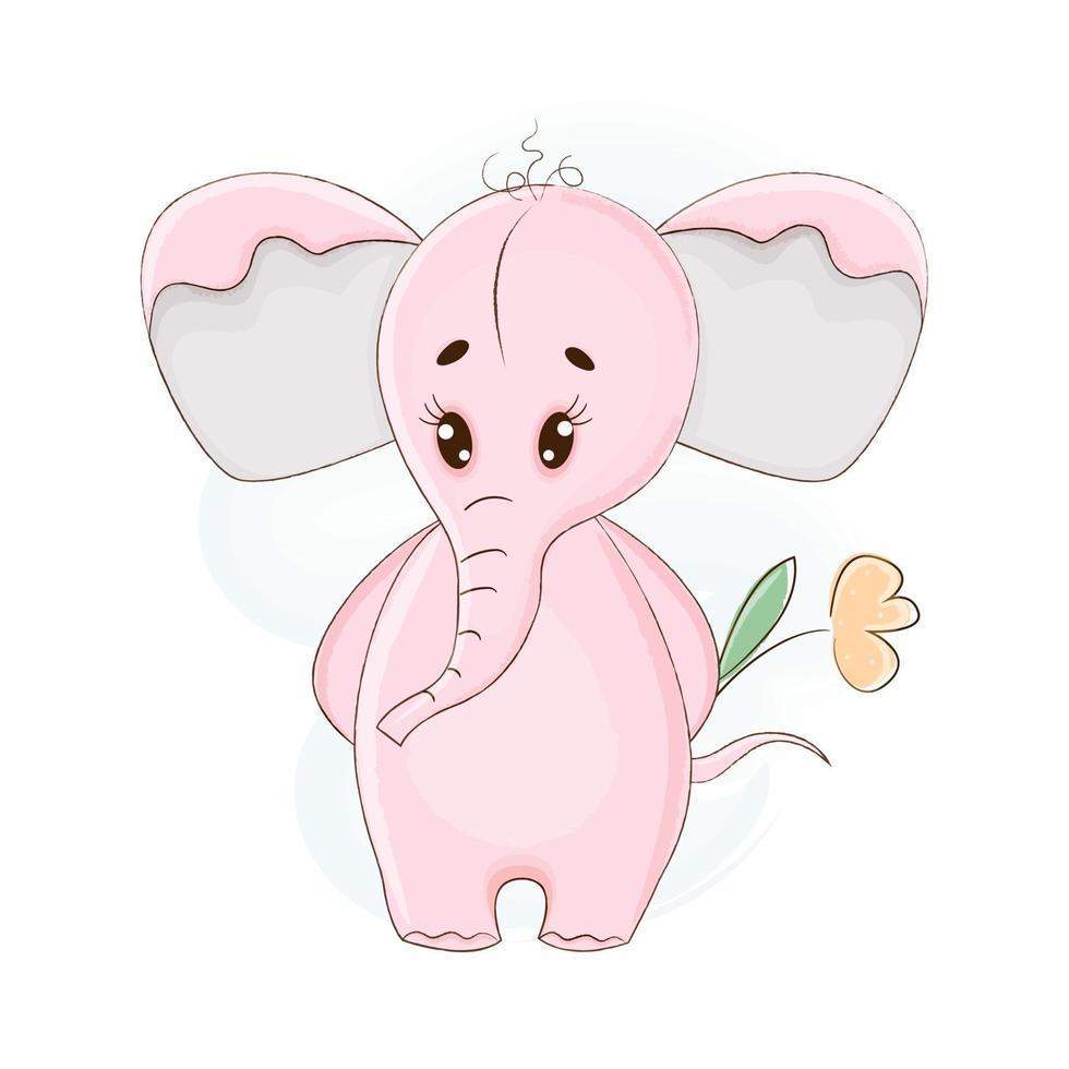 schattige roze olifant in cartoon stijl. vector