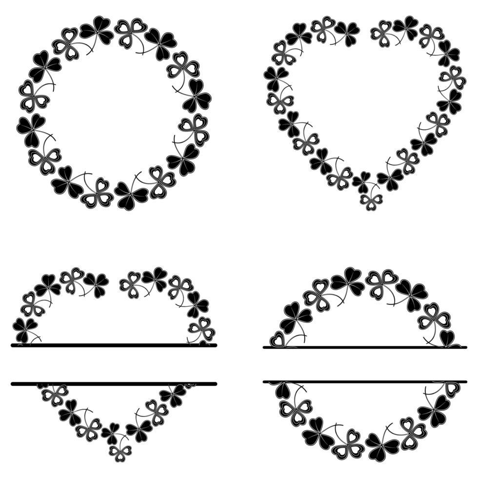 set botanische frames gemaakt van klaver vector