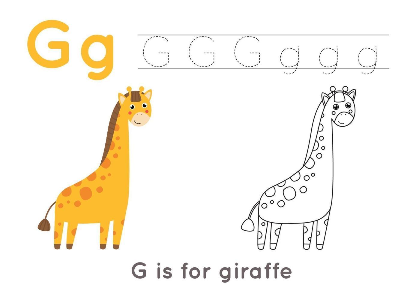 kleurplaat met letter g en schattige cartoon giraf. vector