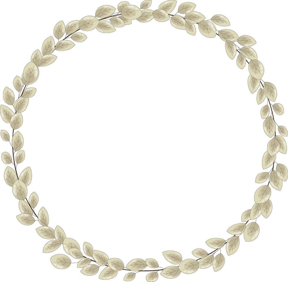 vector krans van veel herfstbladeren. een dun, elegant frame van bleekgeel blad.