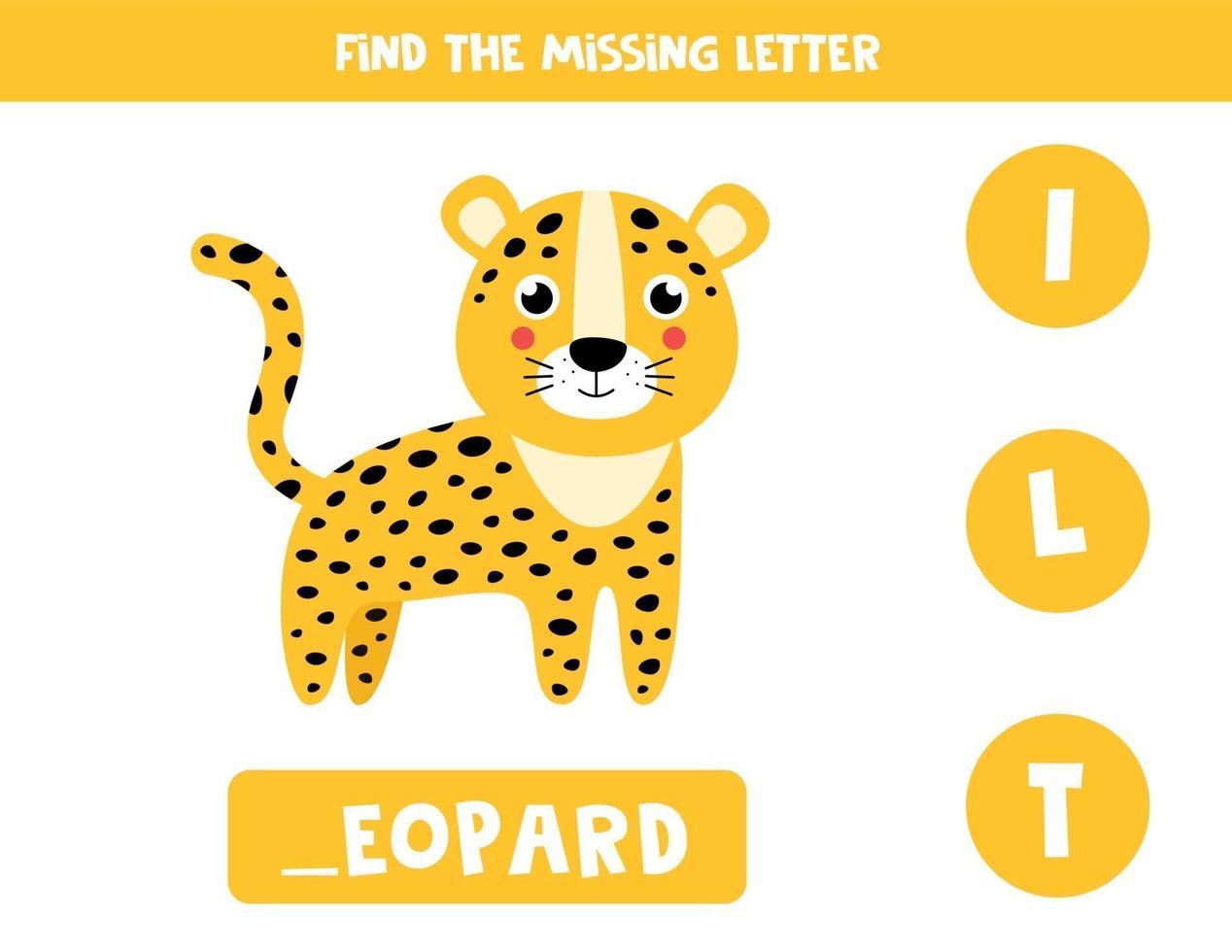 zoek de ontbrekende letter en schrijf deze op. schattige luipaard. vector