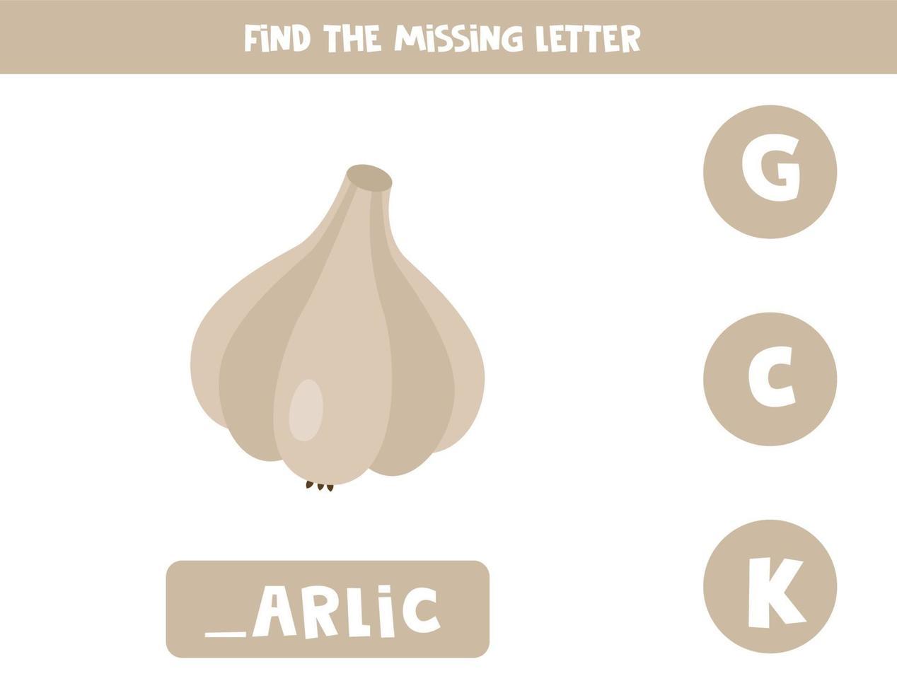 zoek de ontbrekende letter en schrijf deze op. schattige cartoon knoflook. vector